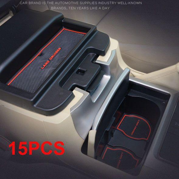 15PCS Rubber Non-Slip Interior Door Mat For Toyota Land Cruiser V8 200 2008-2015 FJ200 LC200 Accessories