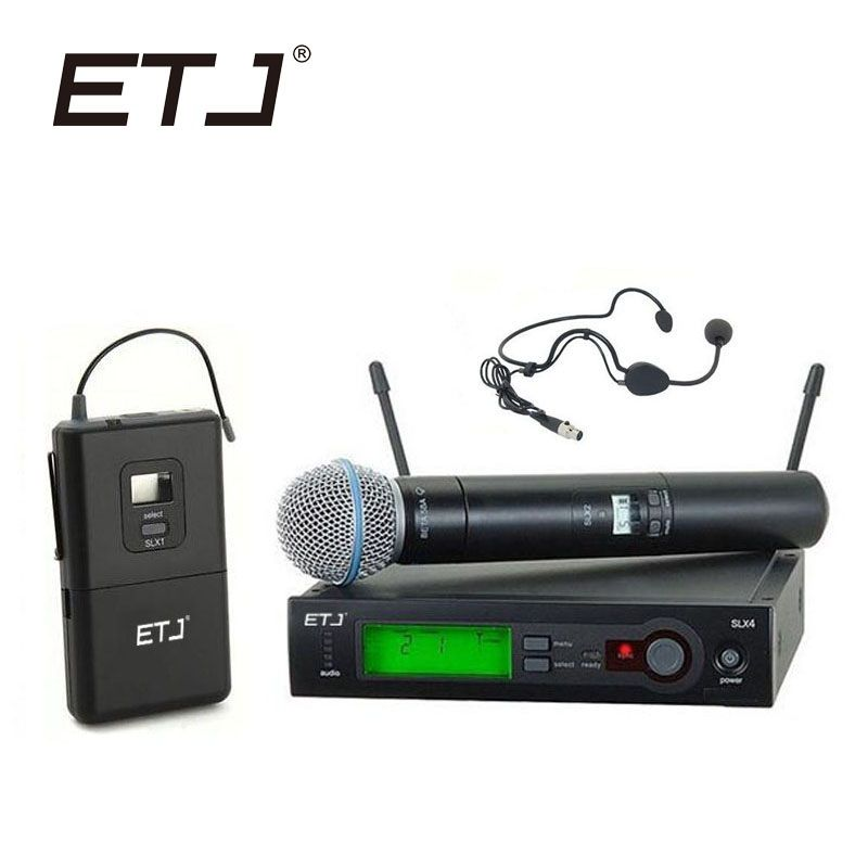 Free Shipping Top Quality SLX SLX24 BETA58/SM 58 UHF PRO WIRELESS MICROPHONE SYSTEM With Bodypack Cordless Lapel headset Mic