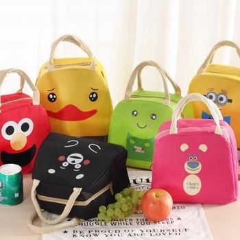 Animal de la historieta bolsa de almuerzo portátil aislados Bolsas para congelar alimentos picnic Lunchbox mujeres niños lancheira Almuerzo