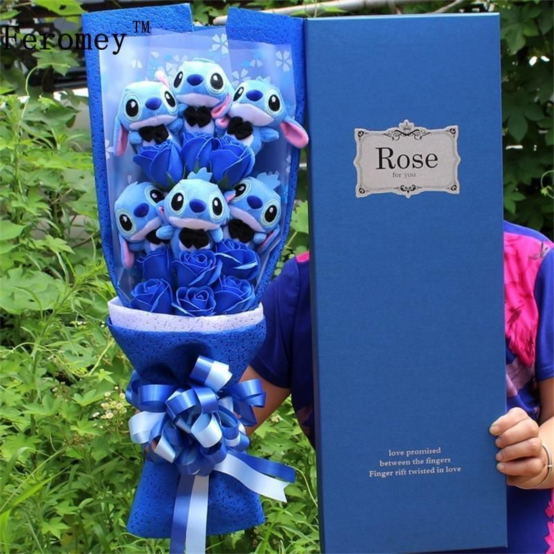 Kawaii Cartoon Lilo Stitch Plush Doll Toys Cute Lilo Stich Plush Bouquet With Fake Flower Wedding Party <font><b>Birthday</b></font> Gift No Box