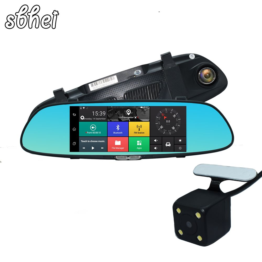 New 7 inch 3G Car Camera DVR GPS Bluetooth Dual Lens Rearview Mirror Video Recorder FHD 1080P Automobile DVR Mirror Dash cam
