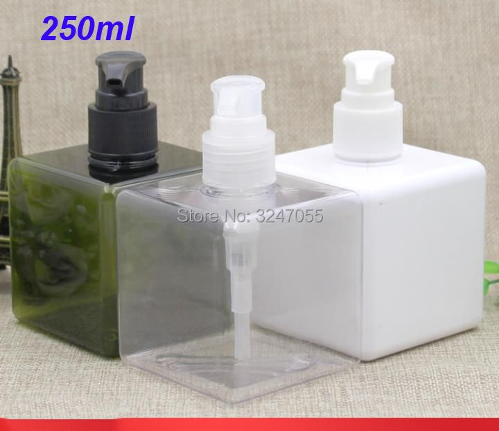 250ML White Plastic Square Shampoo Refillable Bottle,Portable Travel Body Lotion Pump Container,Olive Green Cosmetic TonerBottle