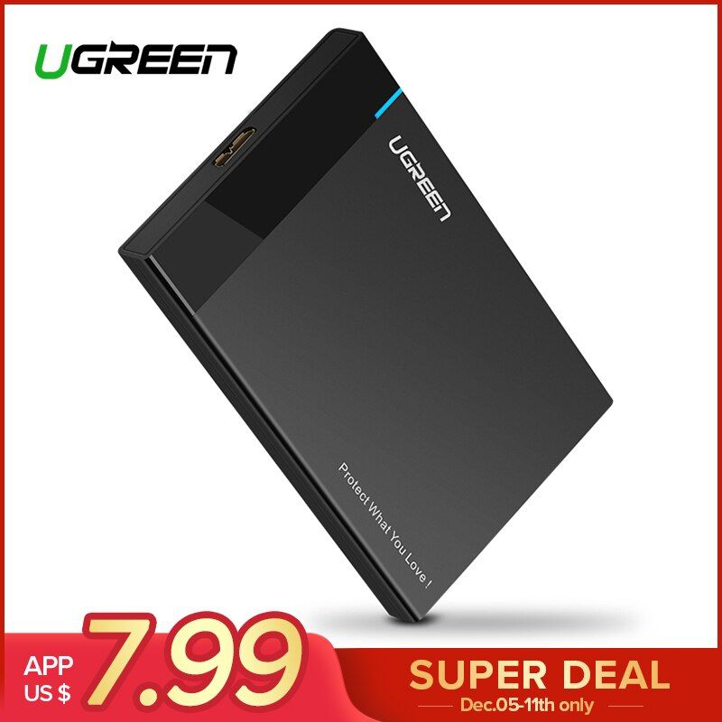 Ugreen HDD Case 2.5 inch SATA to USB 3.0 SSD Adapter for SSD 1TB 2TB Type C Hard Disk Drive Box External HDD Enclosure