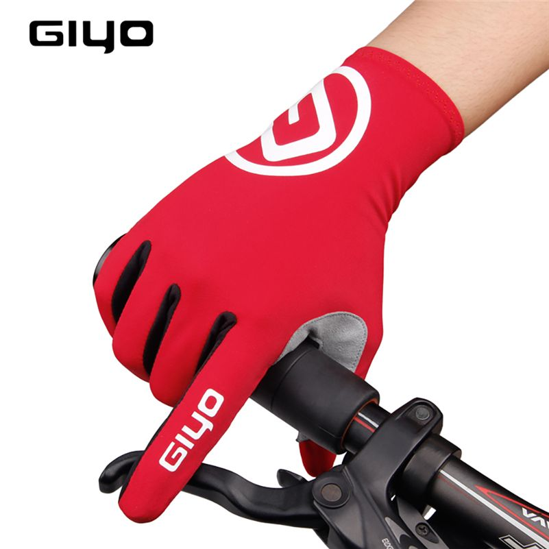 GIYO Breathable Cycling Gloves Touch Screen Anti Slip Gel Pad Road Bike Full Finger Gloves Windproof Bicycle MTB Bikes Gloves
