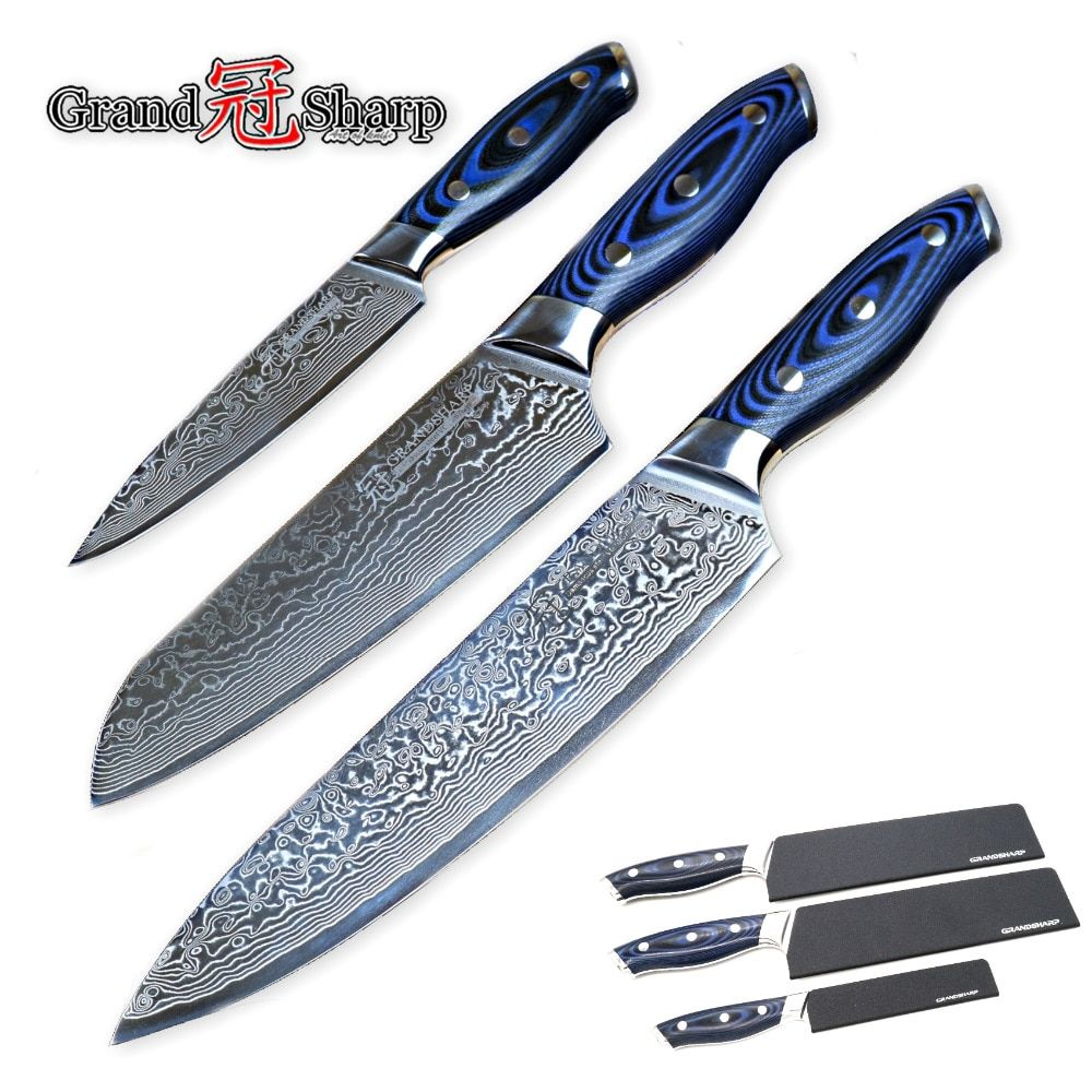 GRANDSHARP 3-Piece Damascus Knife Set 67 Layers Japanese Damascus Steel vg10 Chef Santoku Utility Kitchen Knives Pro Tools NEW