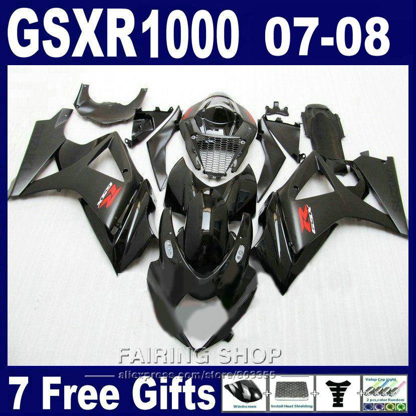 Hot sale moto parts fairings For Suzuki GSXR 1000 07 08 black fairing kit GSXR1000 2007 2008 PG87