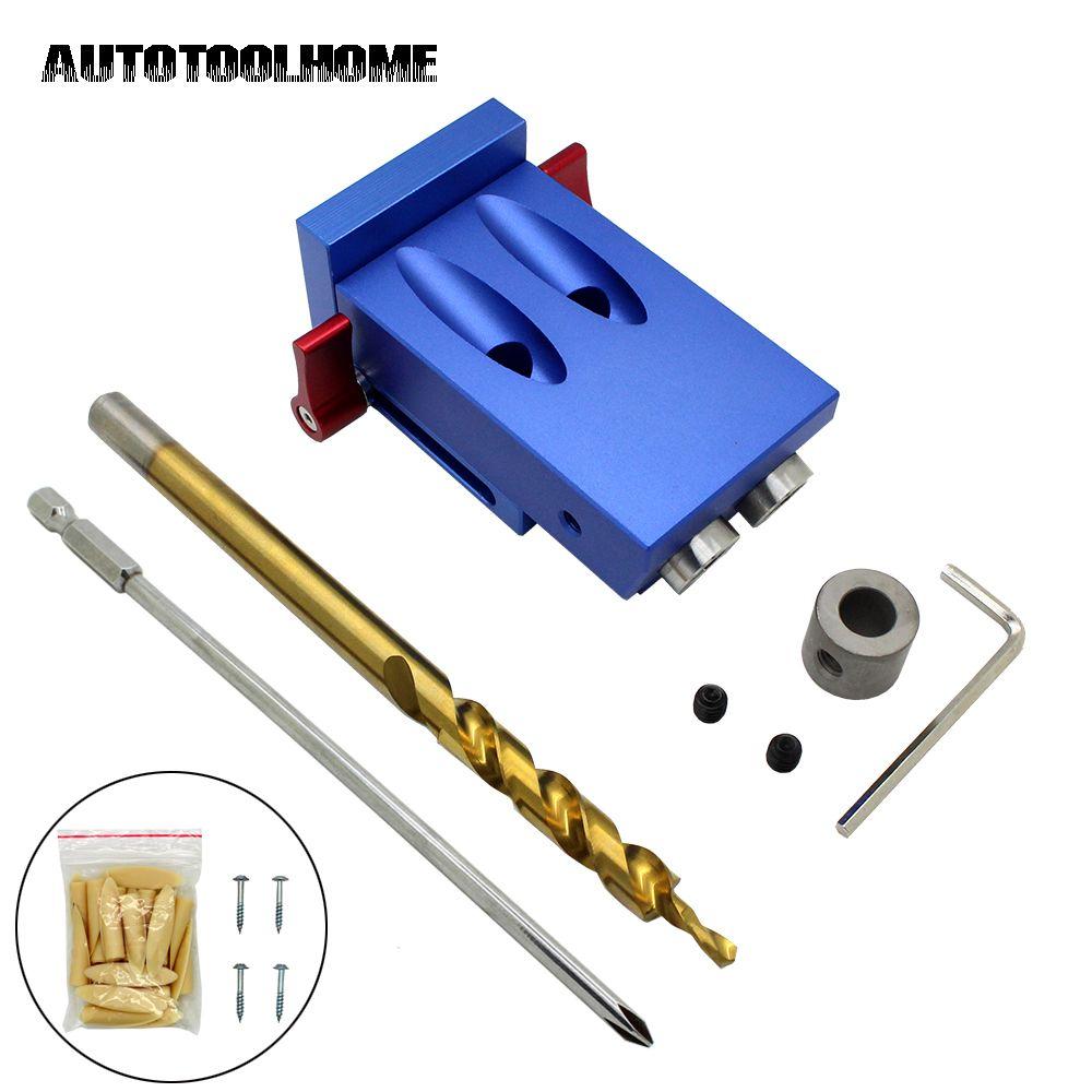 Pocket Hole Jig Kit Set 9.5mm Step Drill Bit Stop Collar For Kreg Woodworking Manual Pilot Wood Drilling Hole Saw Master System