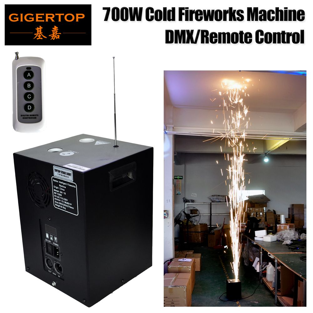 Gigertop QX-1B 700W Cold fireworks machine DMX512/Wiereless Remote Control Sparkler Jet Equipment LCD Display Address Setting