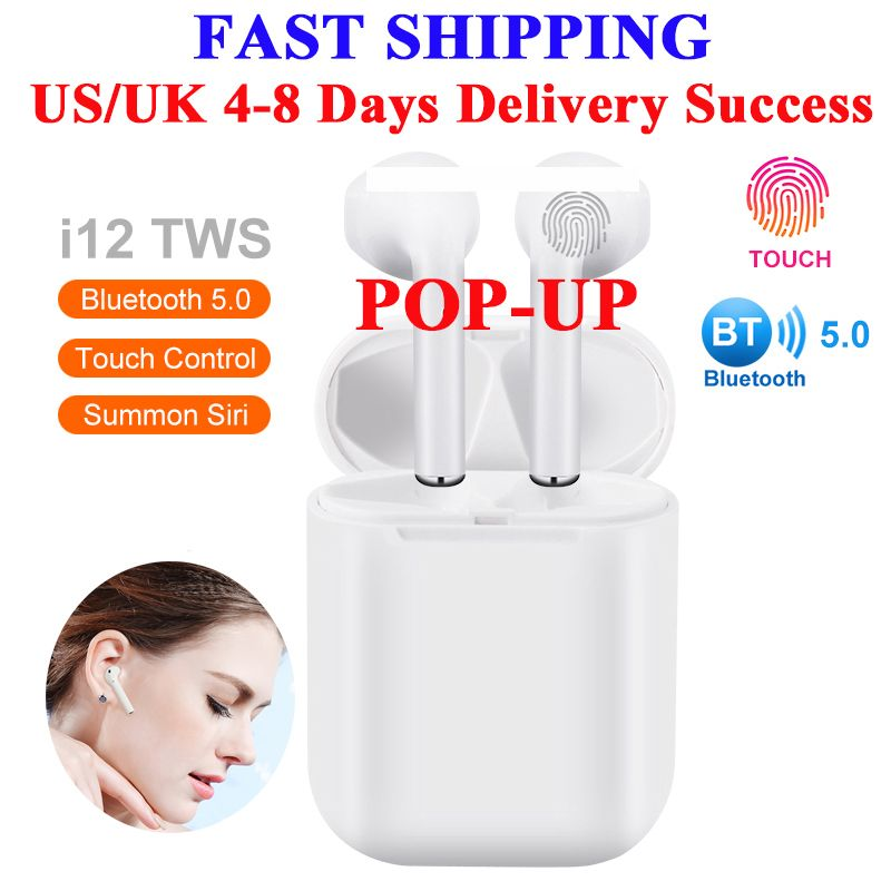 Fu&y Bill High Quality I12 TWS 1:1 Headset Wireless Bluetooth 5.0 Super Bass Earphones Earbuds Pk I9S I11 for IPhone Android