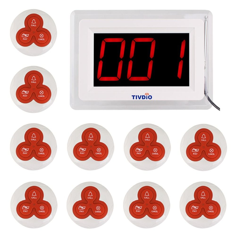 TIVDIO T-114 Restaurant Pager Wireless Calling Paging System 1 Host Display+10 Table Bells Call Button Customer Service F9405B