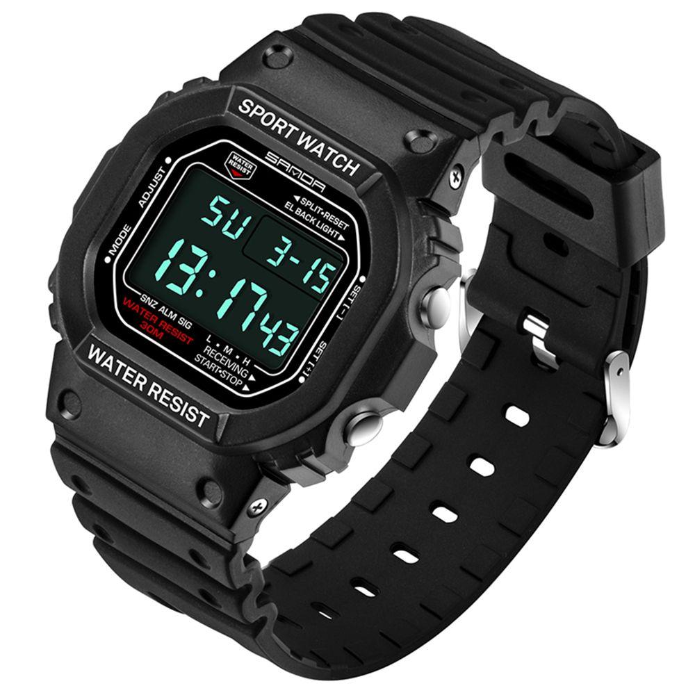 2018 распродажа новых Нержавеющаясталь сзади черный ремешок мужские часы Мода синий бинарные часы Спортивные LED 30ATM Водонепроницаемый часы ...