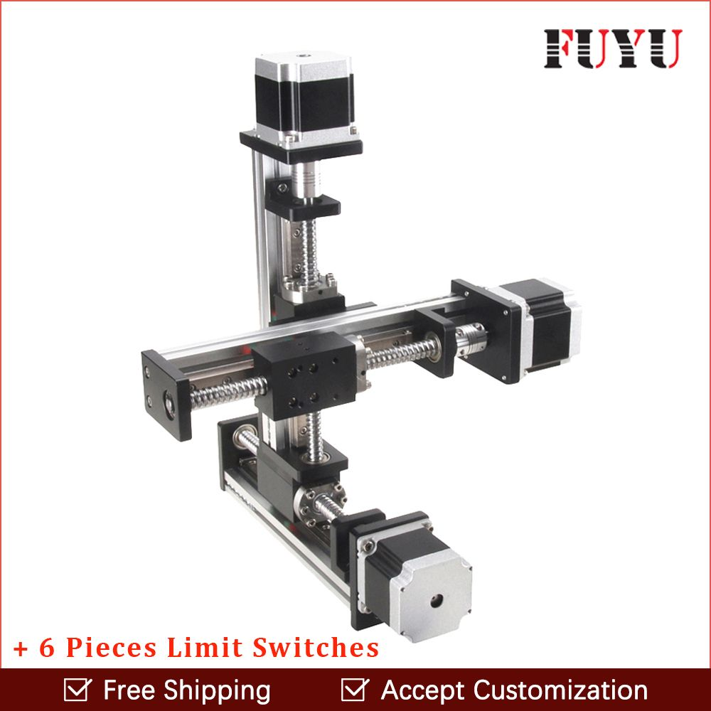 Free shipping linear rail guide ball screw with motor driven Y axis 300mm diy x y z axis router for cutting machine