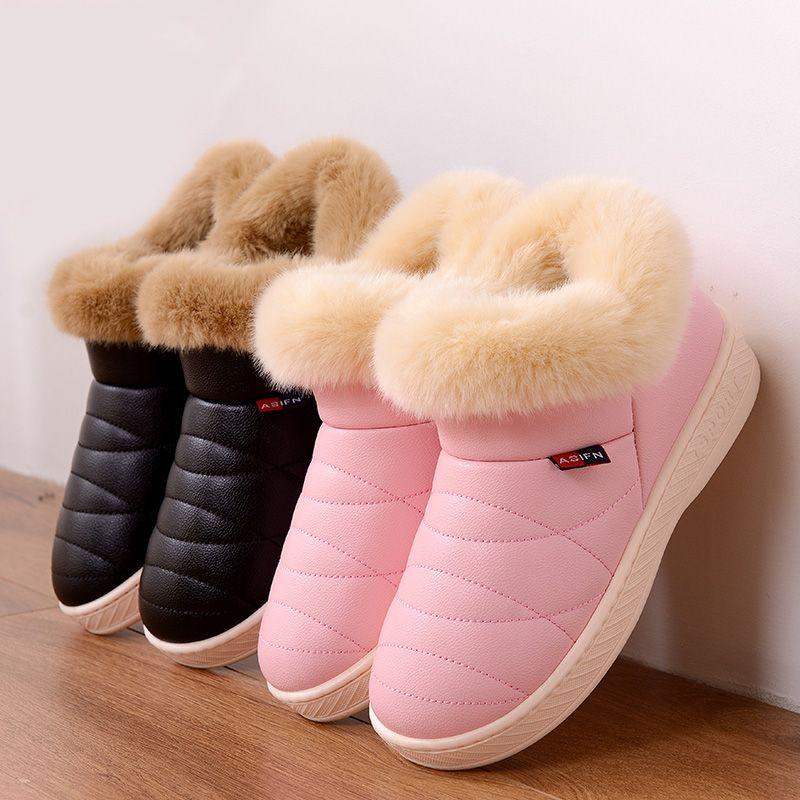 Mujeres Nieve Botas de Invierno Del Tobillo de Piel Caliente Botas Par de Suela Gruesa Zapatos de Mujer Pisos Impermeables antideslizantes Botas de Algodón Mujer Zapatos