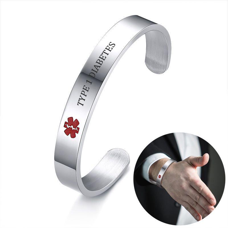 Alerte médicale Message Gravé Manchette ID Bracelet pour Hommes Femmes En Acier Inoxydable TYPE 1 DIABÈTE ALLERGIE Bracelet Brackelts Brazalet