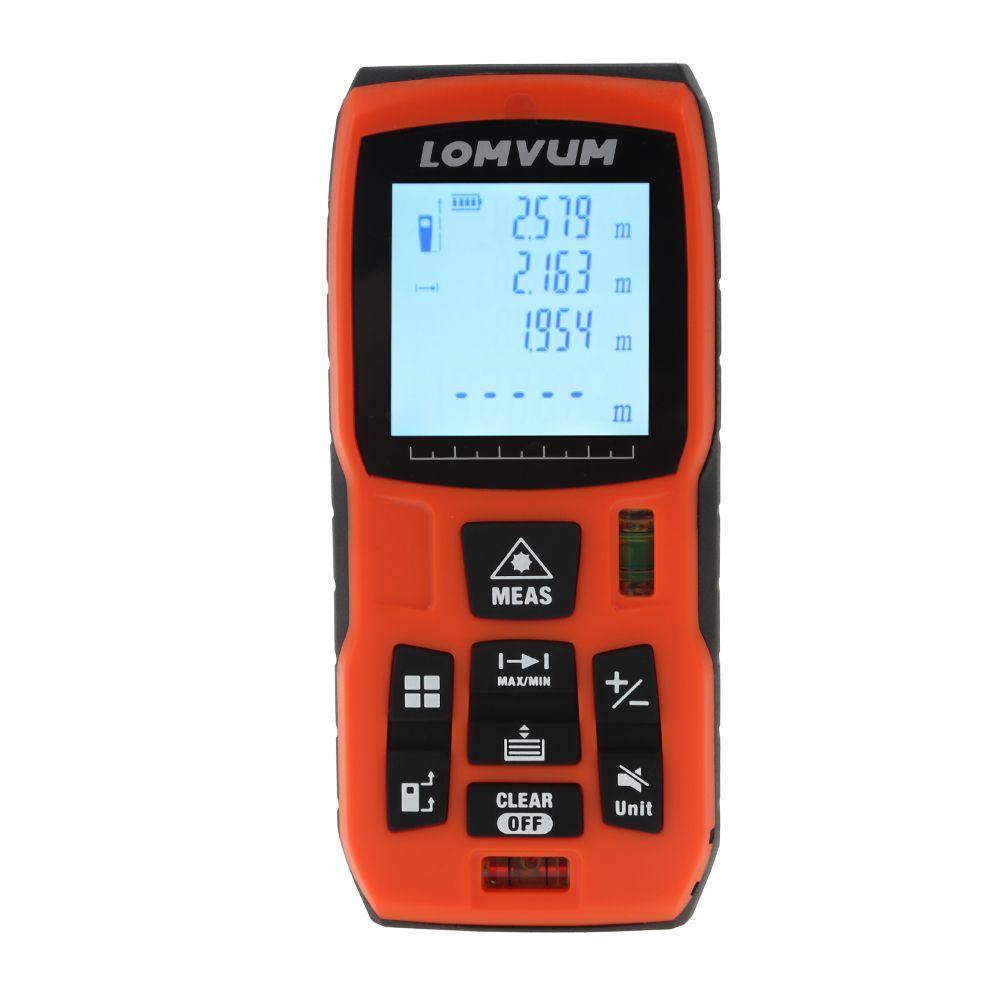 LOMVUM Laser Range Finder Digital Distance Meter Measurer Battery-Powered Tape Distance Measurer Lazer Metreler 40M 60m 80m