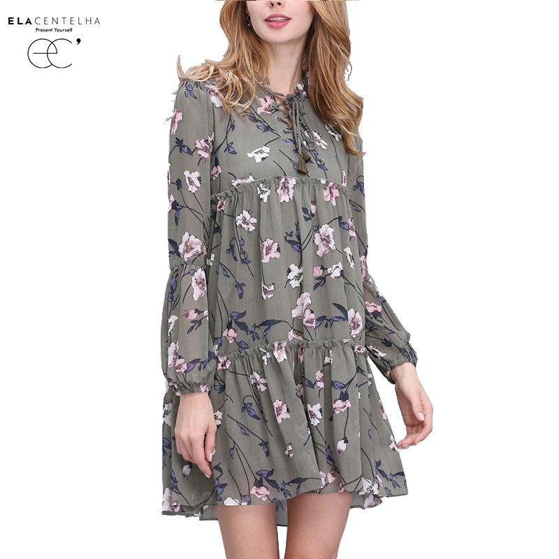 ElaCentelha Frauen Sommer Herbst Kleid Tops Print Floral Frau Kleid Ethnische Plus Größe Lose Bandage Boho Vintage Kausalen Kleider