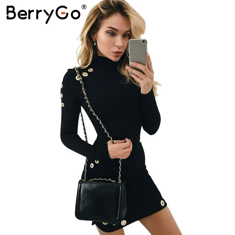 BerryGo Sexy hollow out hole bodycon dress Women slim long sleeve black dress Elegant party short dress vestidos de fiesta