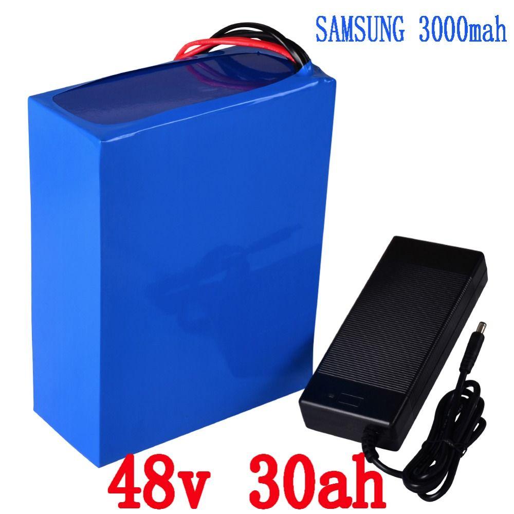 Freies verschiffen 1500 Watt 2000 Watt Roller batterie 48 V 30AH Elektrische Fahrrad-lithium-batterie verwendung für Samsung 3000 mah zelle mit 5A Ladegerät