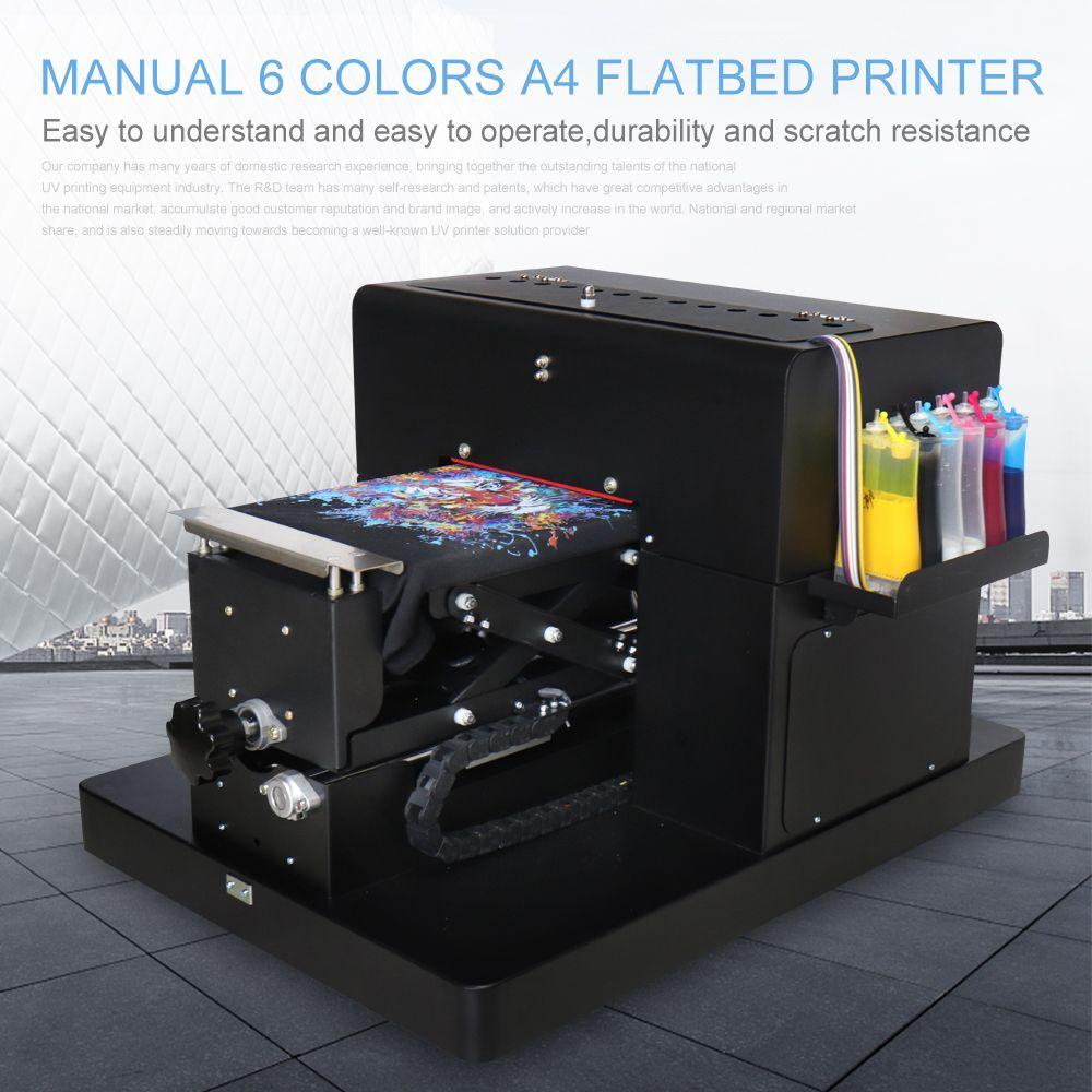 A4 Flachbettdrucker Multicolor A4 Größe DTG T-Shirt Drucker Direkt zu Drucken Dark Licht Farbe für T-shirt Kleidung Druck Maschine