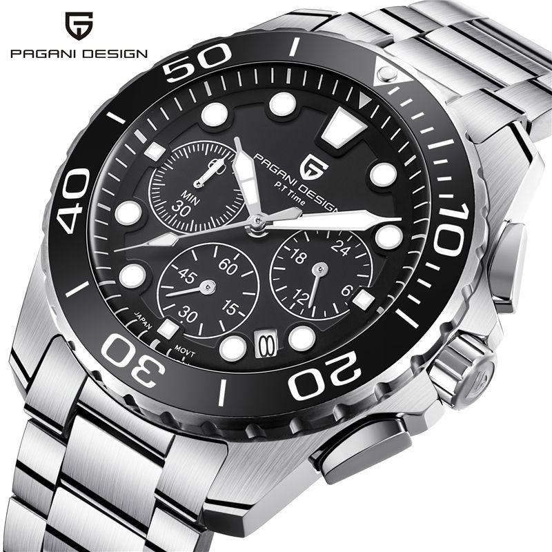 NEUE PAGANI DESIGN Top Luxus marke Männer quarzuhr edelstahl wasserdichte uhr timing männer quarzuhr horloges mannen