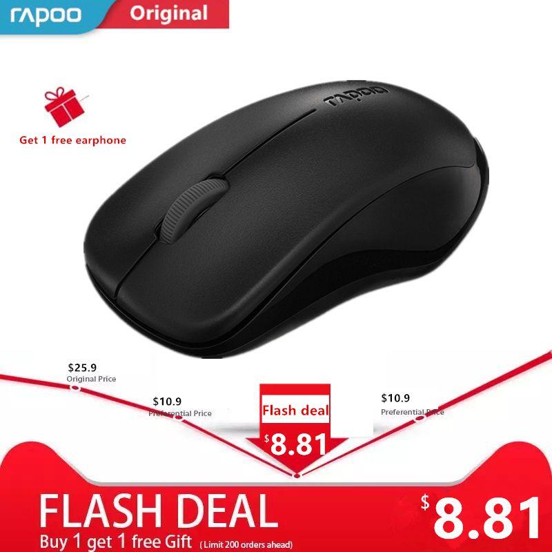 Original Rapoo Silent Wireless Optical Mouse Mute Button Click Mini Noiseless Game Mice 1000 DPI for Macbook PC Laptop Computer