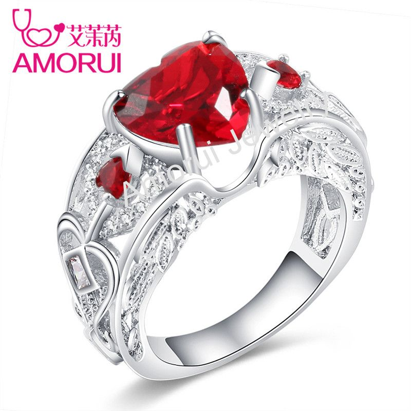 AMORUI 24Colors Black Gold/Silver Angel Wings AAA Cubic Zirconia Love Heart Wedding Jewelry Rings for Women Birthstone Ring Gift
