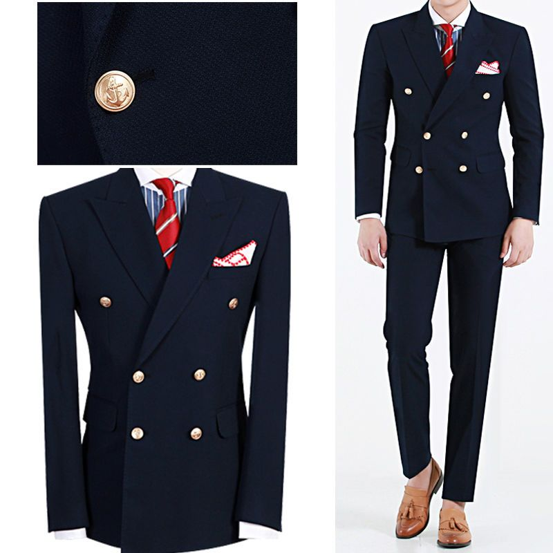 Navy Bule Double Breasted Suits Fashion Tuxedos Ropa Formal Hombres Custom Made Suits Handsome (Jacket+Pant+Tie+Handkerchiefs)
