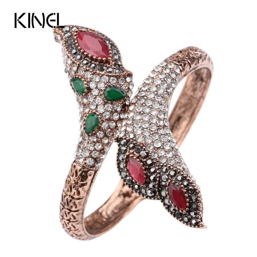 Luxury Vintage Women's Bangle Antique Gold Color Covered With Crystal Fashion Flower Bracelet Dubai Bride Jewelry 2017 New