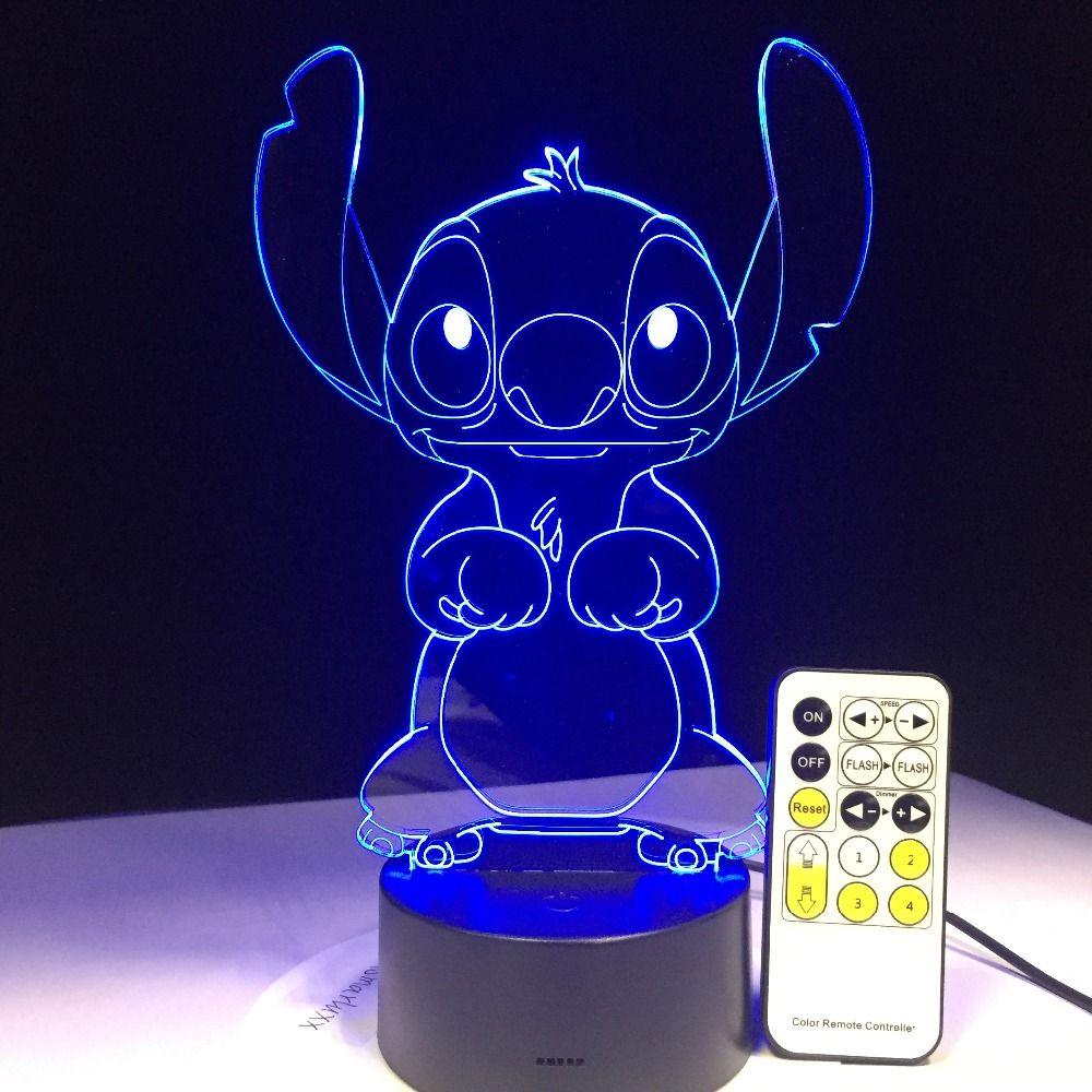 3D LED Lamp Bedroom Stitch Table Night Light Acrylic Panel USB Cable 7 Colors Change Base Lamp Kids Gift Wholesale Drop Shipping