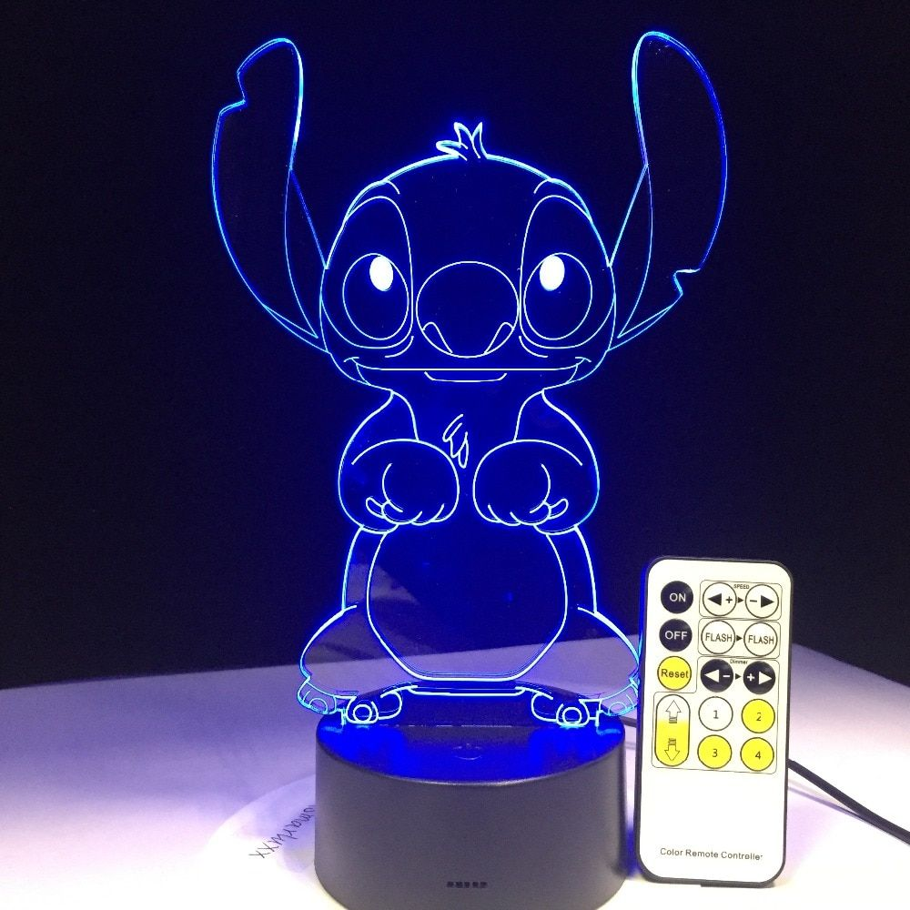 3D LED Lampe Chambre Point De Table Night Light Acrylique Panneau USB Câble 7 Couleurs Changement De Base Lampe Enfants Cadeau En Gros drop Shipping