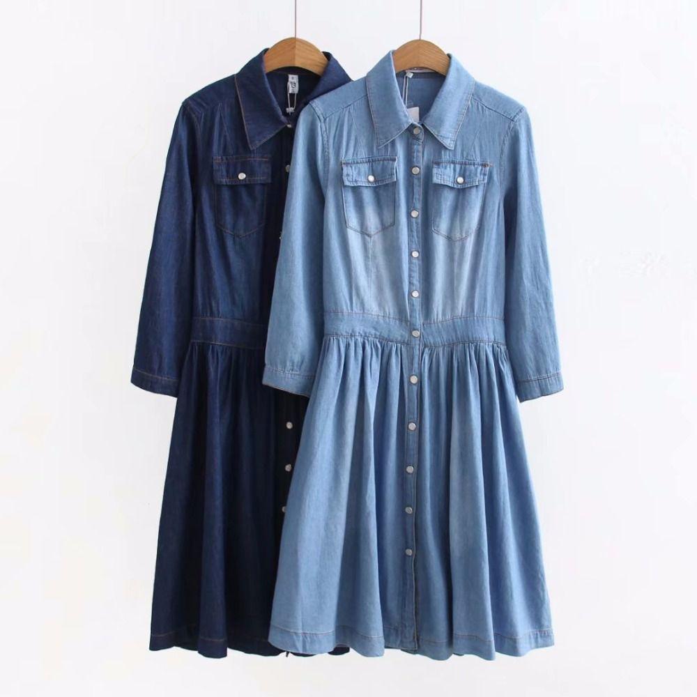 2018 Nouvelle Arrivée Haute Qualité Plus Taille Vêtements de Femmes, femme Mode Casual 4XL Bleu Denim Robe Élégante Mince Jeans Robes