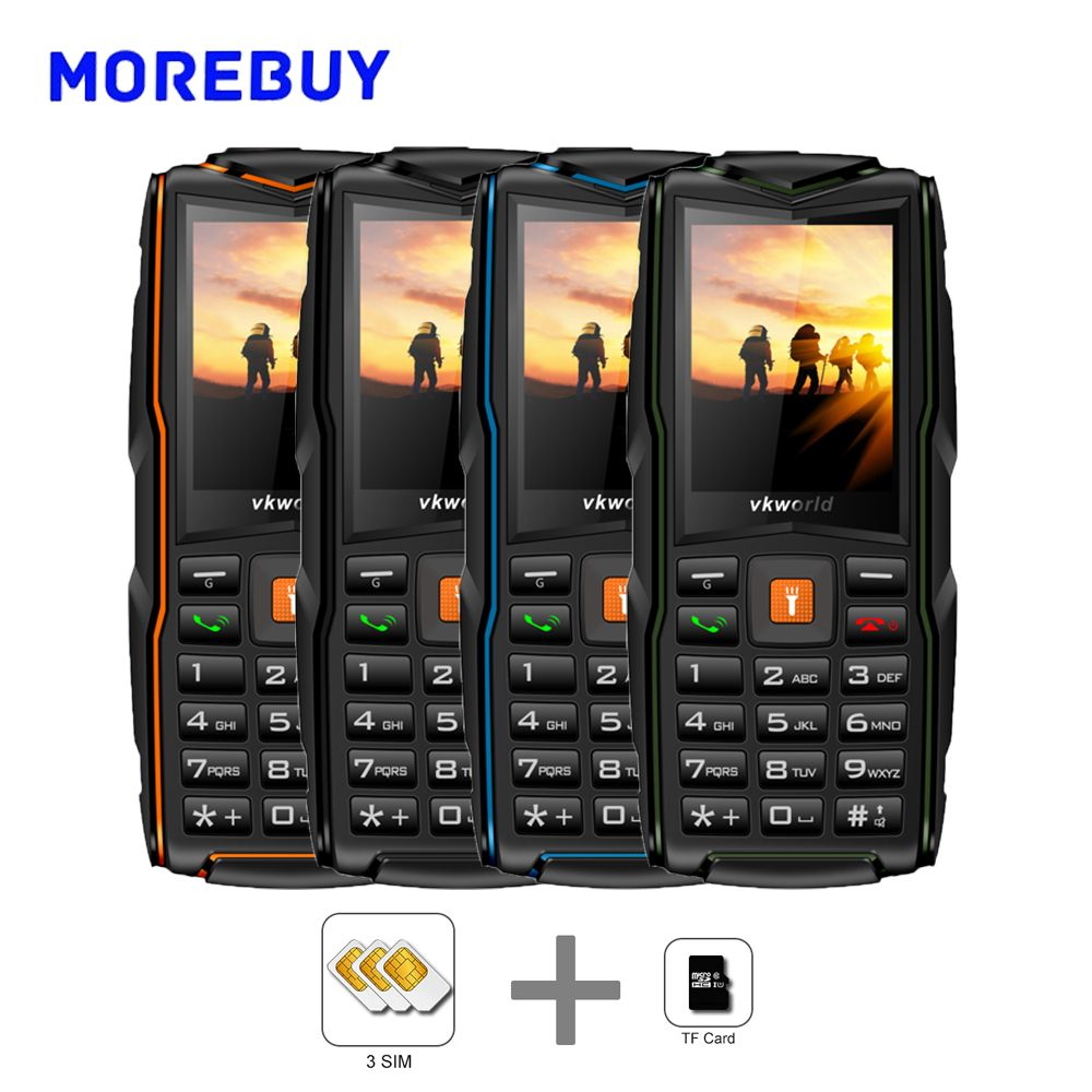 Vkworld New Stone V3 SC6531CA IP68 Water Duat Shock Proof 2.4 Inch Triple SIM Cards 2G Cellphone 3000mAh Long Standby