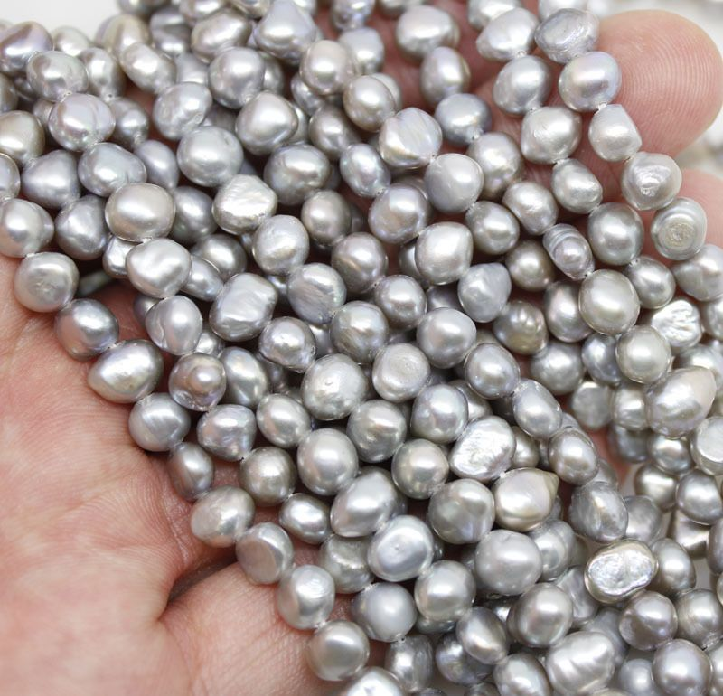 Wholesale 10PCS  real 6-7mm gray Baroque pearl loose beads gem stone 14
