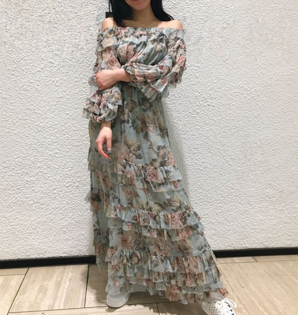 Women Off-the-shoulder Neck Three-quarter sleeves Self-tie waist Unbridled Silk Ruffle Midi Dress