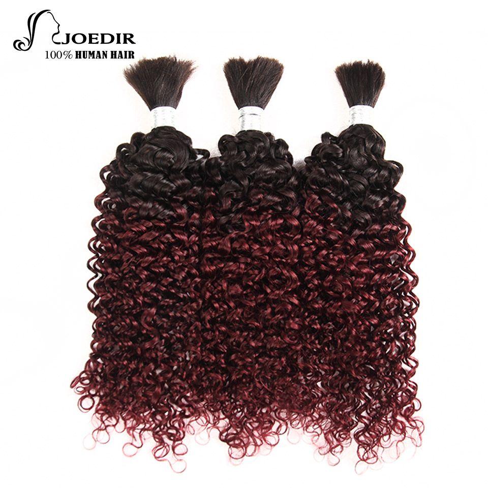 Joedir Pre-farbige Malaysische Lockige Haare Flechten Menschliches Haar Groß 3 Bundles Deal Kein Schuss Remy Haarbündel Ombre 99J Farbe