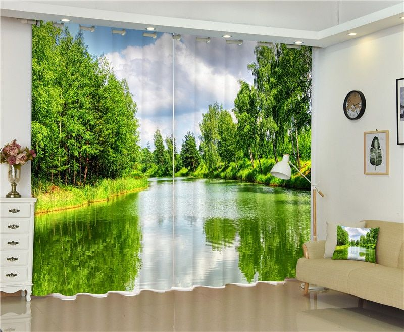 Green tree 3D photo Blackout Curtains For Living room Bedding room Home Decor Tapestry Wall Carpet Drapes Cotinas