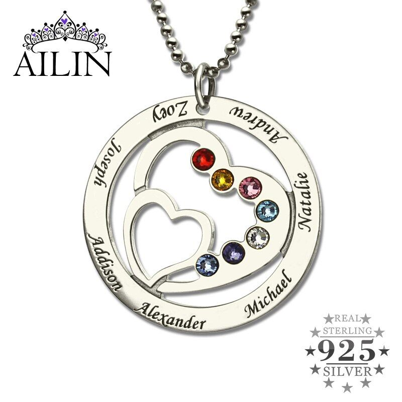 Wholesale Heart in Heart Birthstone Family Name Necklace Personalized Mother Necklace Silver Birthstone Necklace Gift for Mother