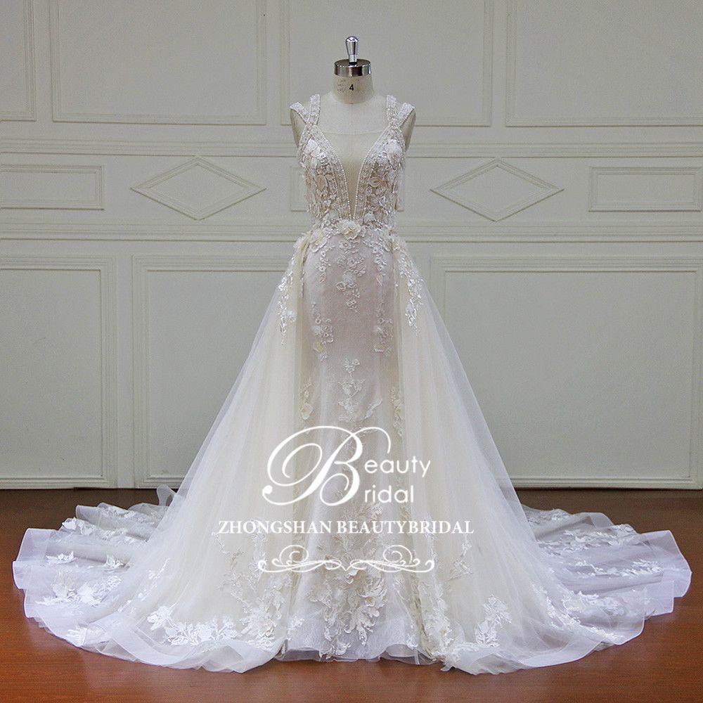 Elegante Abnehmbare Zug Brautkleider Nach maß Spitze Perlen Ärmellose Meerjungfrau Hochzeit Kleid Vestido de Noiva XF17011