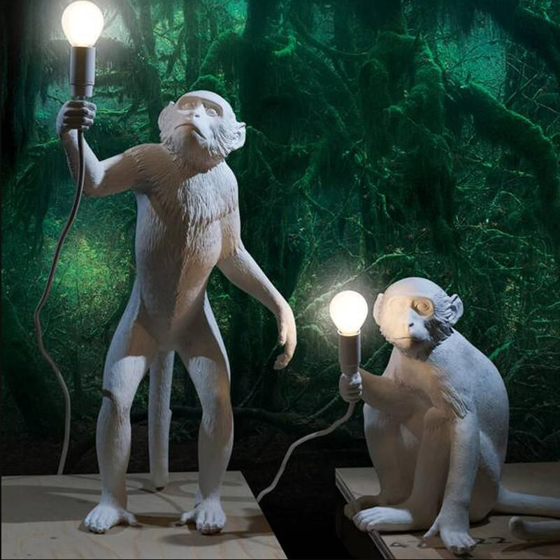 Modern Novelty Resin Hemp Rope Monkey Table Lights Lamps Desk Lamps Industrial Retro E27 Edison Bulb for Bedroom Study Kids Gift