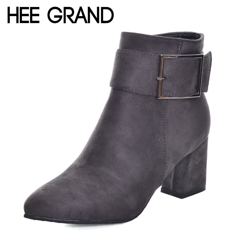 HEE GRAND Metal Decoration Pointed Toe Elegant Women Fashion Boots Women Winter Thick Heel Ankle Boots  XWX6136