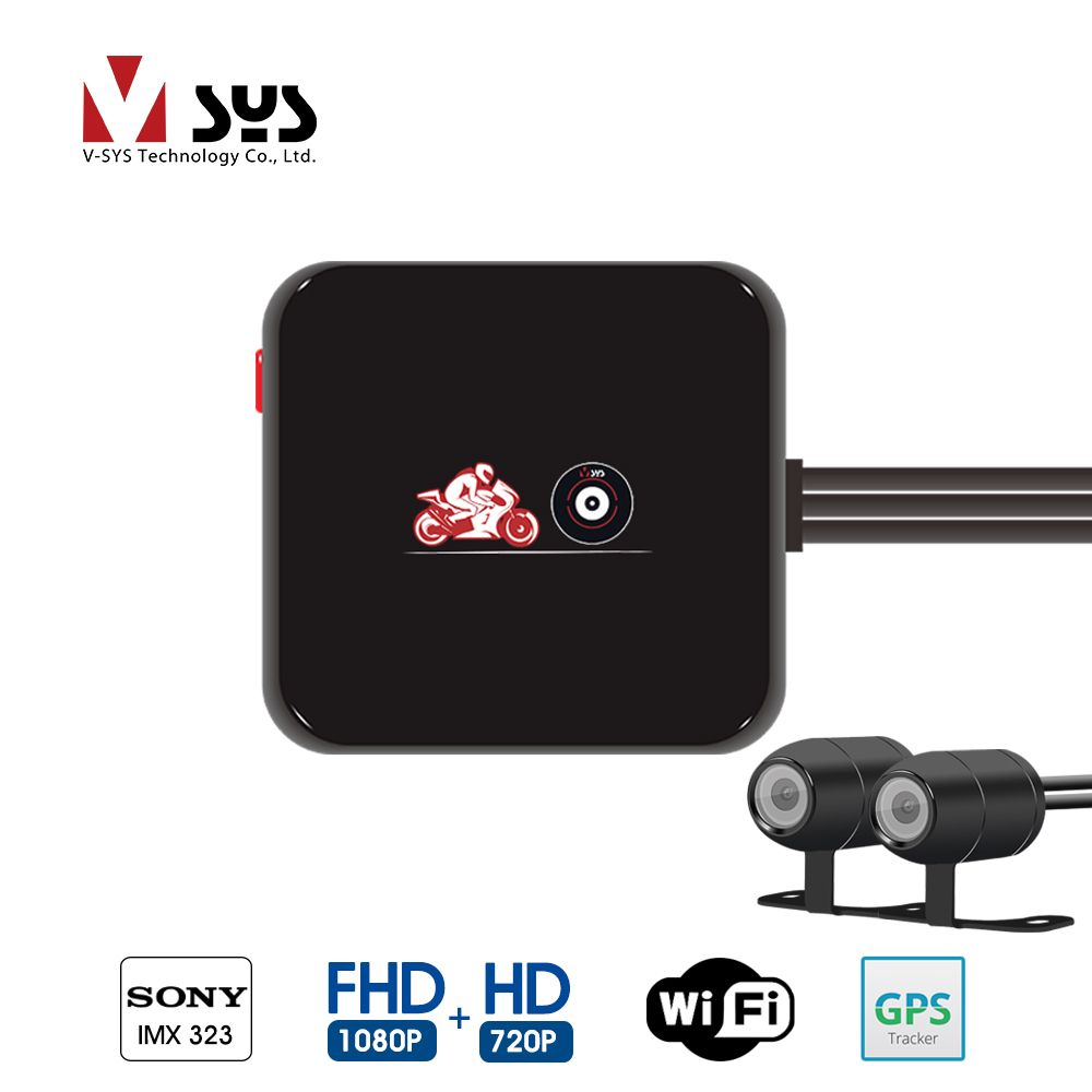 VSYS M6L WiFi 2CH Motorcycle Dash Cam DVR with Full HD 1080P + 720P Front & Rear View Waterproof Motorcycle Camera Recorder GPS