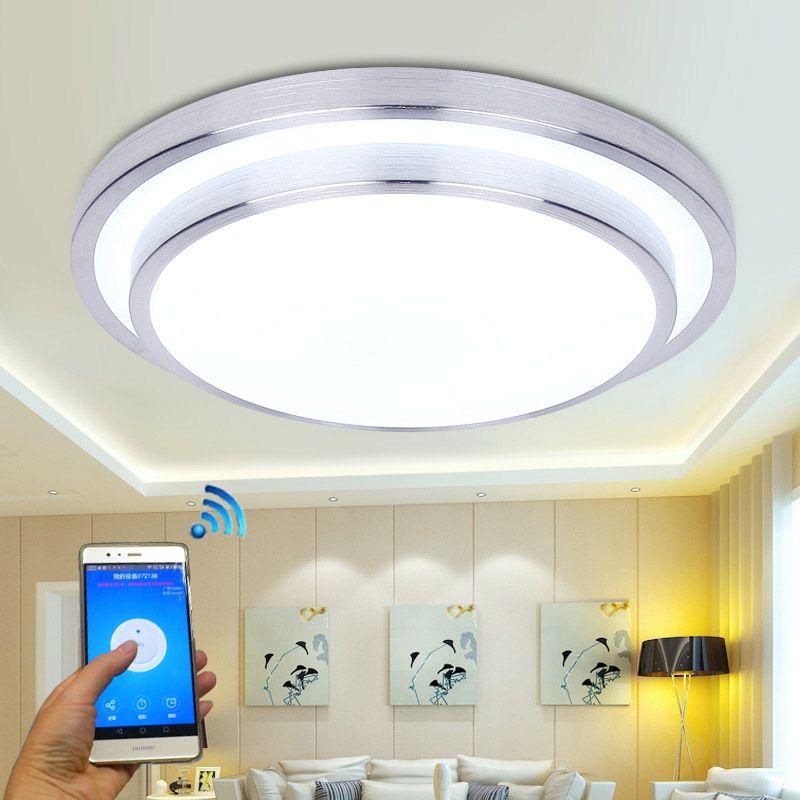 Jiawen LED WIFI Беспроводной потолочные светильники 15 Вт Алюминий + Акрил Крытый Smart освещения с APP Дистанционное управление ac 100- 240 В