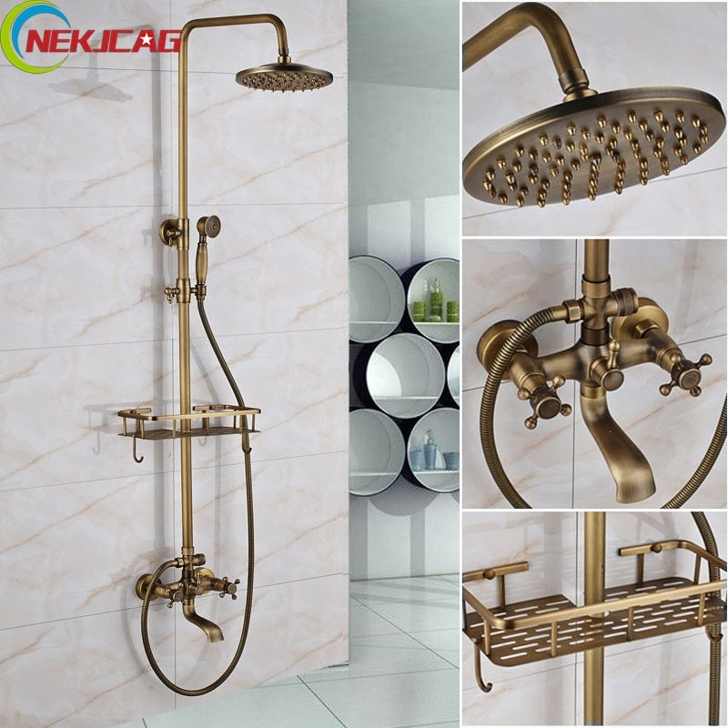 Bathroom Long Nose Outlet Faucet Antique Brass Shower Bathtub Faucet Two-Handle Mixer Tap Telephone Shape Handheld Shower