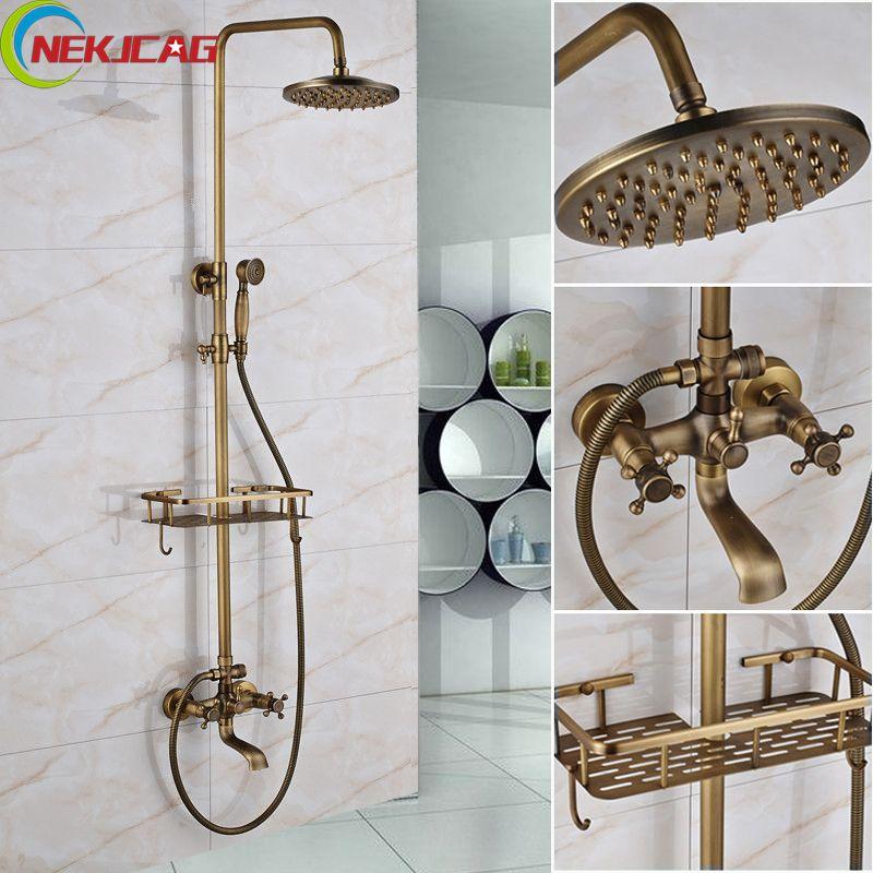 Bathroom Long Nose Outlet Faucet Antique Brass Shower Bathtub Faucet Two-Handle Mixer Tap Telephone Shape Handheld Shower