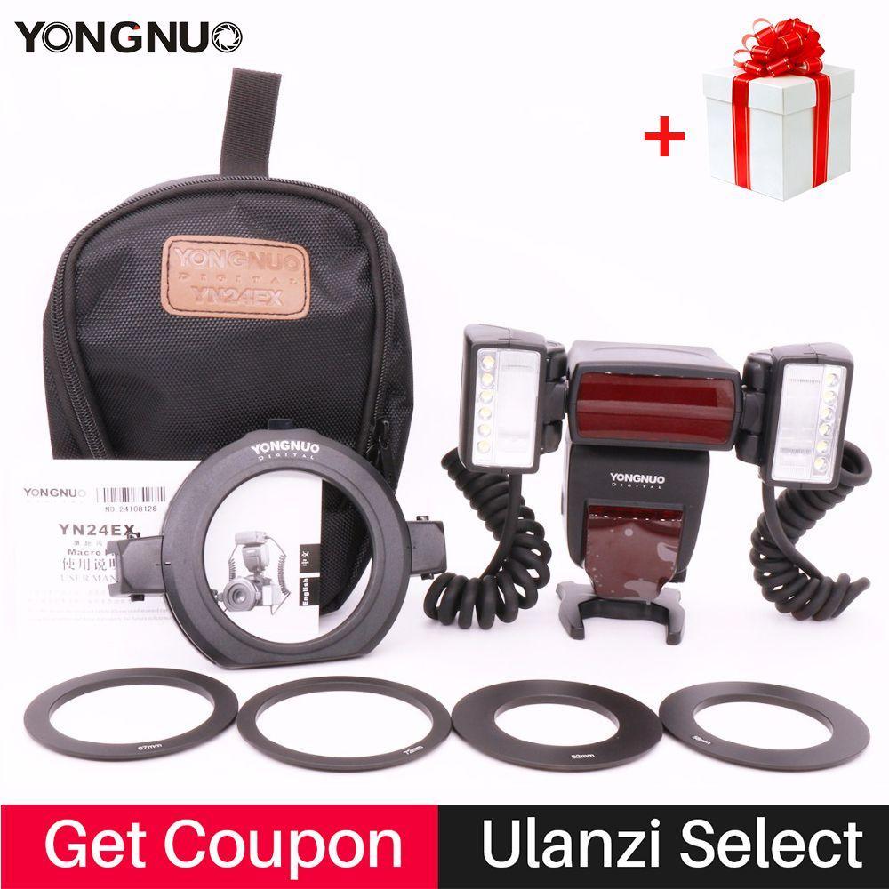 YONGNUO YN24EX 2pcs Flash Head Macro Flash Light E TTL Speedlite for Canon EOS 5DIII 80D 750D 700D 650D 1100D DSLR Camera YN24ex