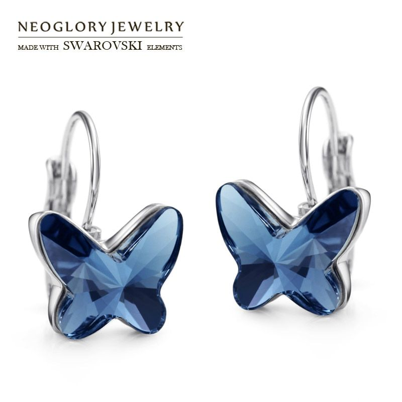 Neoglory Austria Crystal Drop Earrings Elegant Butterfly Style For Lady Romantic Brand Trendy Exquisite Alloy Plated Gift