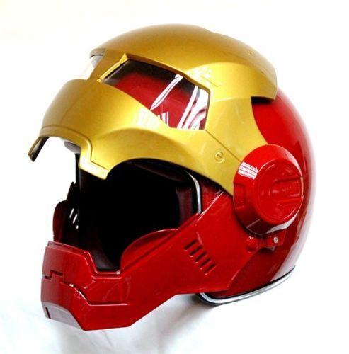 Masei vélo scooter moto Rouge d'or Classique iron man casque de moto casque demi casque open face casque casque motocross