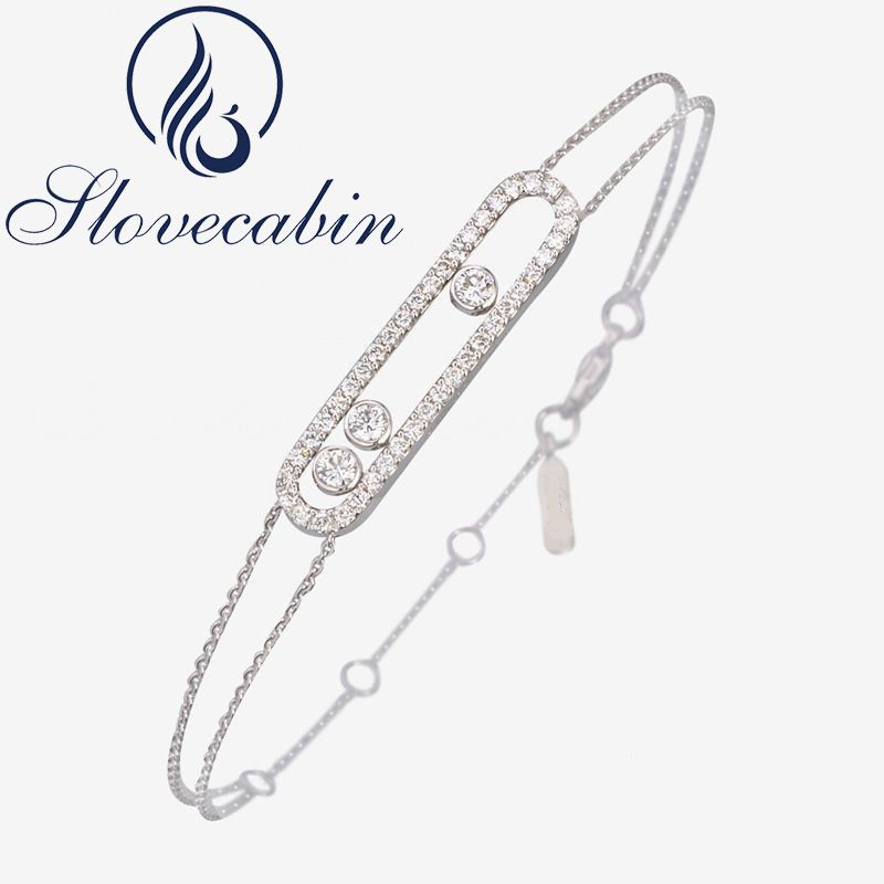 Slovecabin New Arrival Real 100% 925 Sterling Silver Moved Stone Bracelet With Clear CZ For Women Brand France Jewelry Wholesale