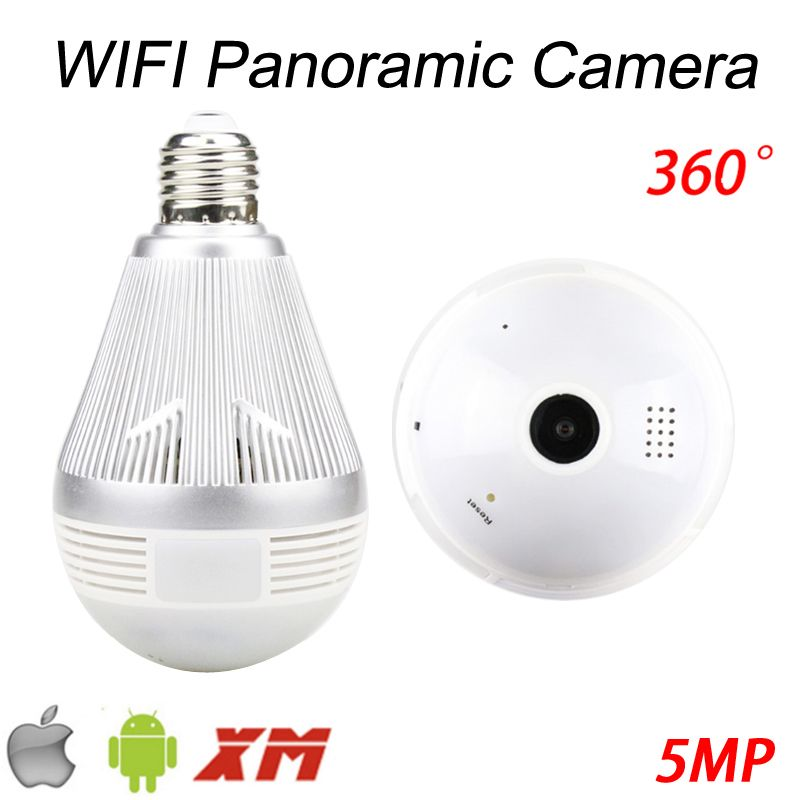 5MP Three Array infrared Led 128G 360 Degree Fisheye 3D VR Panoramic Bulb Wifi Wireless IP CCTV Surveillance Camera FreeShipping