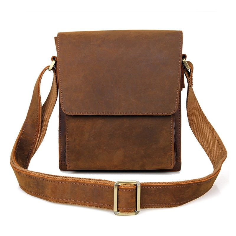Men's vintage genuine leather iPad messenger bag Thick Cow leather shoulder bag small casual crossbody bag Cowhide Brown #J7055